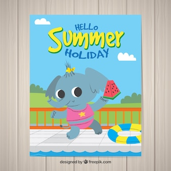 Summer holiday postcard with cute animal