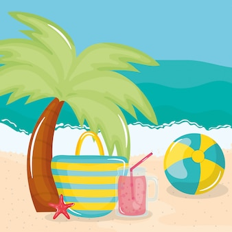 Summer holiday poster with beach scene and icons