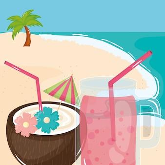 Плакат летнего отдыха с кокосовым коктейлем