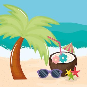 ココナッツカクテルと夏の休日ポスター