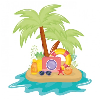 Summer holiday poster with island and icons
