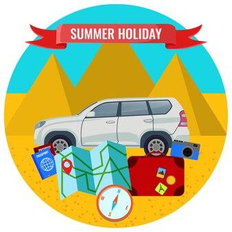 여행용 자동차, 도로 지도, 여권 및 수하물이 피라미드 배경에 있는 여름 휴가 포스터, 육지 개념으로 여행