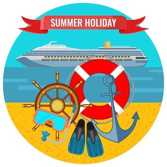여행 크루즈 라이너, 구명 부표, 앵커 및 오리발이 해변 해변 배경에 있는 여름 휴가 포스터, 물 개념으로 여행
