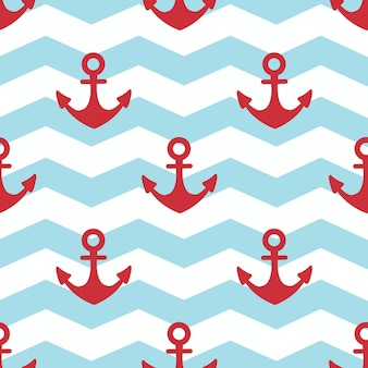 In summer holiday, red anchor on white and blue stripes background