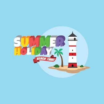 Summer holiday retro cartoon theme