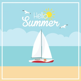 In summer holiday sail boat and beach