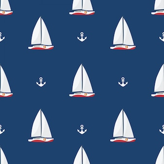 In summer holiday, sailing ships and anchors on white background