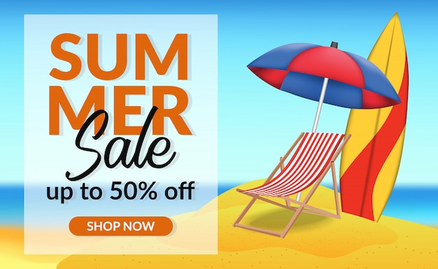 Summer holiday sale offer discount banner