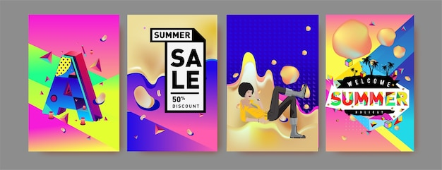 여름 휴가 판매 및 홍보 포스터 세트