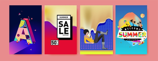 Summer holiday sales and promotion poster set