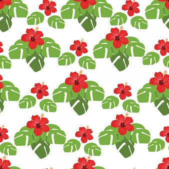 In summer holiday, seamless pattern with monstera leaves and hibiscus flowers