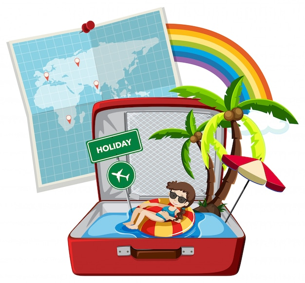 Summer holiday on suitcase