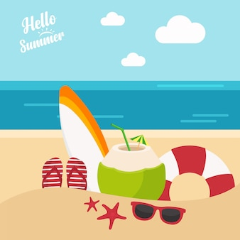 In summer holiday, summer vacation template with beach summer accessories