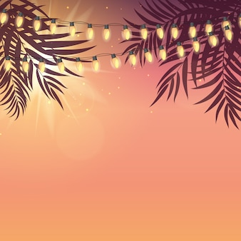 Summer holiday  sunset with palm leaves and yellow garland lamp bulbs.  illustration