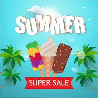 Summer holiday and super sale with ice cream and coconut tree