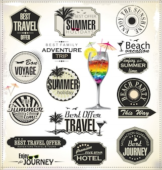 Summer holiday and travel time label