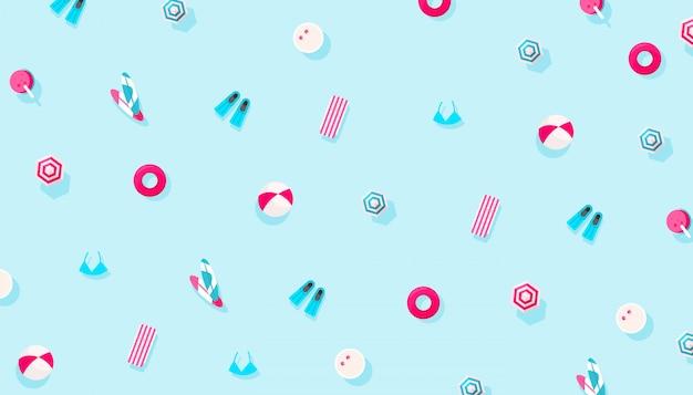 青色の背景に夏の休日休暇アクセサリーパターン。創造的な最小限の構成、フラットレイアウト
