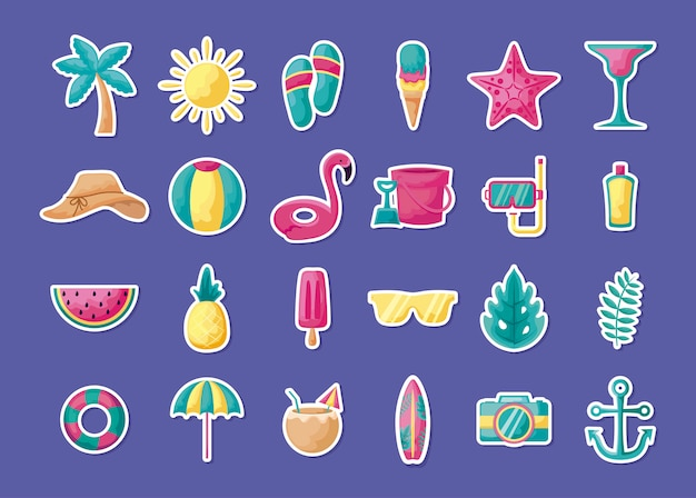 Summer holiday vacation set icons