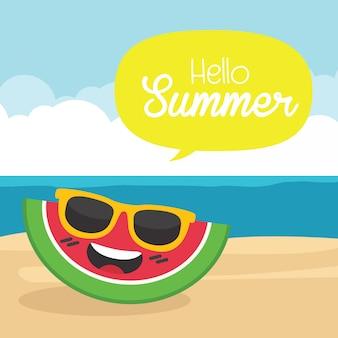 In summer holiday, vintage summer poster