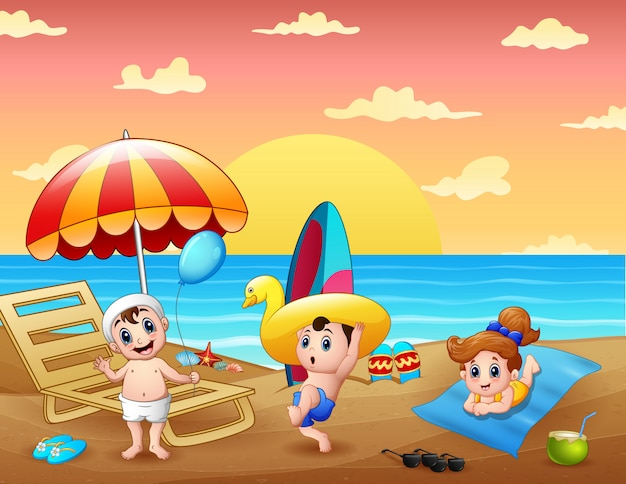 Summer holiday with children having fun at the beach