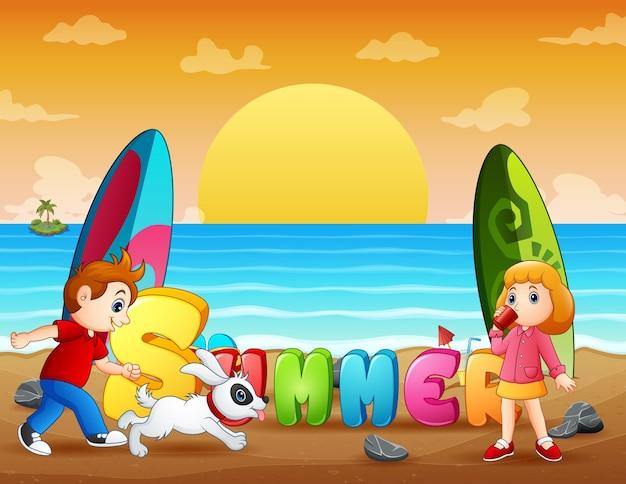 熱帯のビーチで子供たちと夏の休日 Premiumベクター