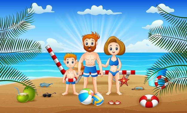 해변에서 노는 행복한 가족과 함께 여름 휴가