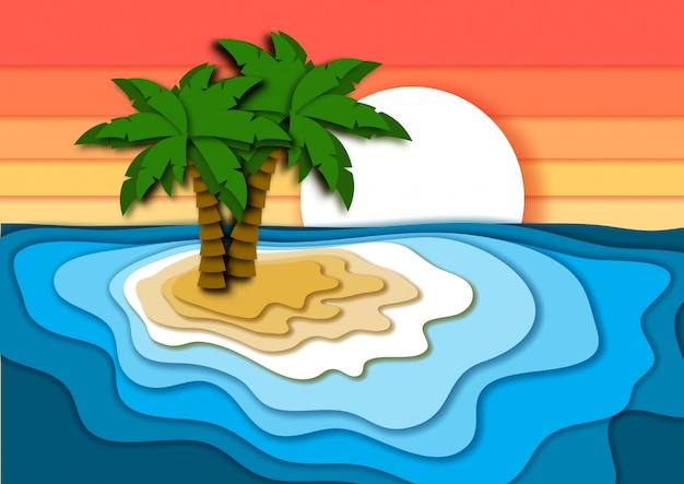 Summer holiday with tropical island in paper cut