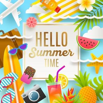 Открытка на летние каникулы и пляжный отдых
