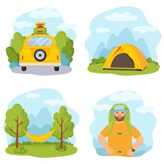Летний отдых и туризм. набор их четырех иллюстраций.