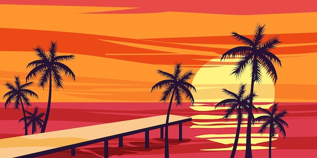 Летние каникулы фон закат вид пристань море океан плакат баннер