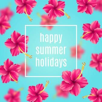 열 대 꽃 인사말 카드와 함께 여름 휴가 배경
