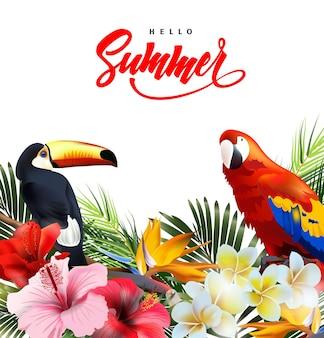 熱帯の花と夏休みの背景レタリングこんにちは夏テンプレートベクトル