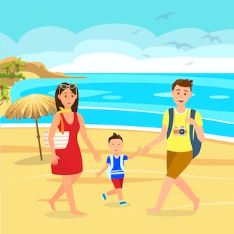 Summer holidays on beach cartoon family on holiday