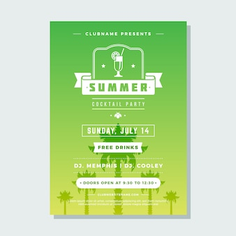 Summer holidays beach party flyer night club event