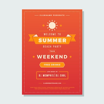 Summer holidays beach party flyer typography night club event