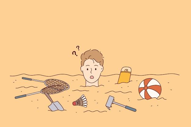 Летние каникулы, пляж, концепция отдыха.