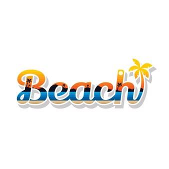 Summer holidays beach sign symbol vector art