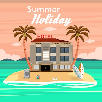 Summer holidays on the beach with hotel and travel accessories
