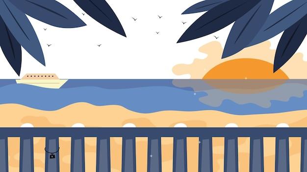 夏休みのコンセプト。ヤシの木、太陽、ヨットのある海辺の風景。