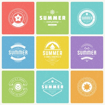 Summer holidays design elements and typography vector set.