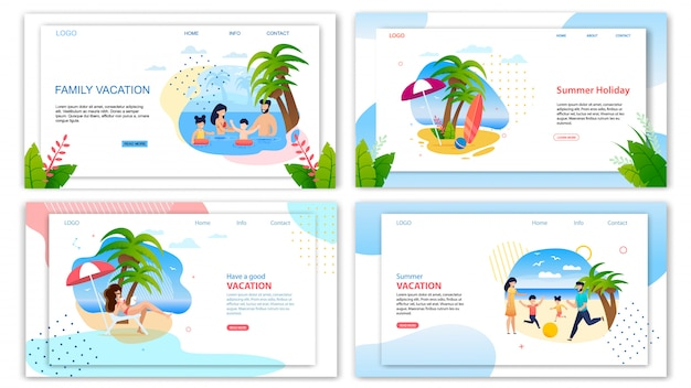 Summer holidays family vacation landing page set