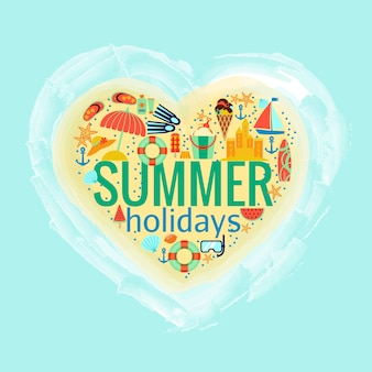 Summer holidays heart shape with summer accessories    illustration
