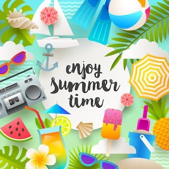 Иллюстрация летних каникул с вещами и предметами пляжного отдыха