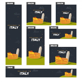 Summer holidays in italy poster or banner design.