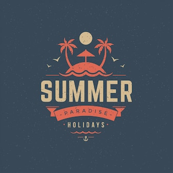 Summer holidays label or badge typography slogan design
