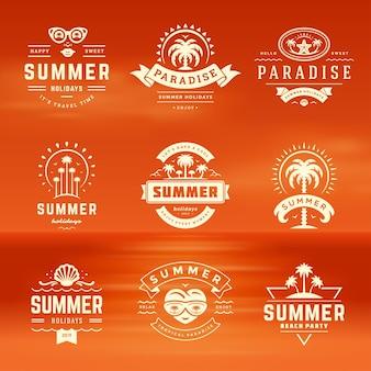 Summer holidays labels and badges retro typography design set
