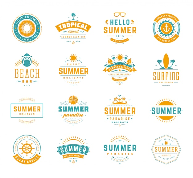 Summer holidays labels and badges retro typography design