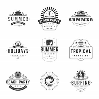 Summer holidays labels or badges retro typography vector design templates set.