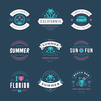 Summer holidays labels and badges typography design set.
