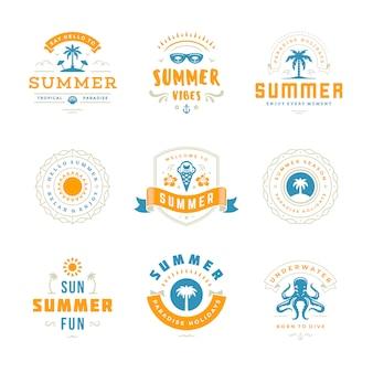 Summer holidays labels and badges  typography design set.
